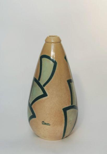 Vase d'édition de forme ogivale en céramique...