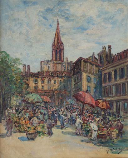 Gustave MADELAIN (1867-1944)  Marché animé...