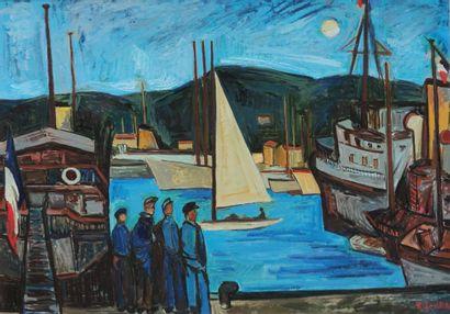 Isis KISCHKA (1908-1973)  Le port de Cannes...