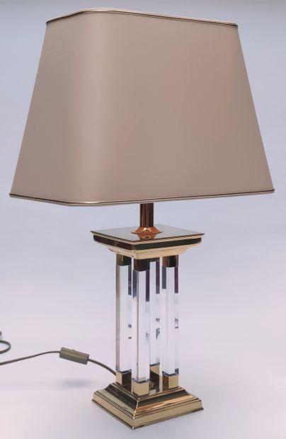 LAMPE, le pied à quatre colonnes en plexiglass...