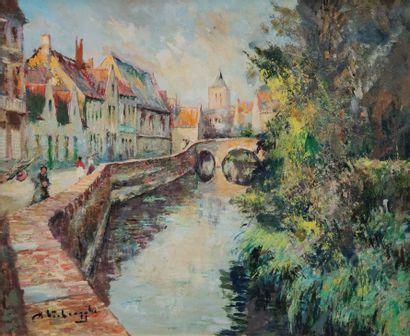 Charles Henri VERBRUGGHE (1877-1974) Promeneurs...