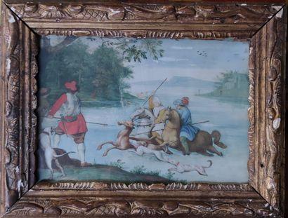 ECOLE FRANCAISE XIXeme siècle  La chasse...