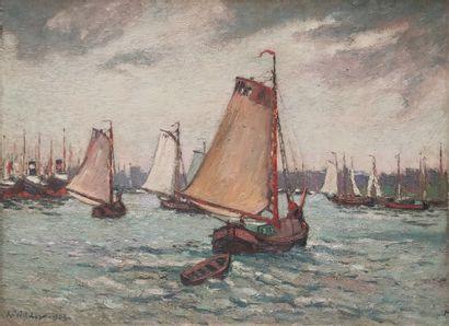 André WILDER (1871-1965) Voiliers en mer...