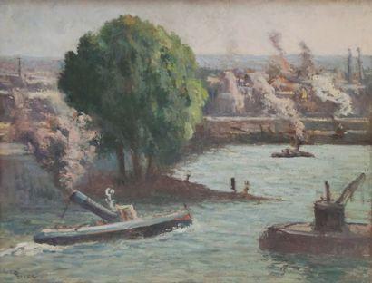 Maximilien LUCE (1858-1941) Rouen, remorqueur...