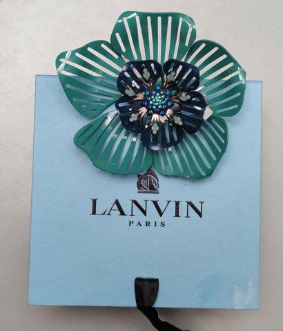 LANVIN - Large broche motif fleur en métal...