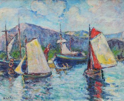 André WILDER (1871-1965)  Bateaux dans le...