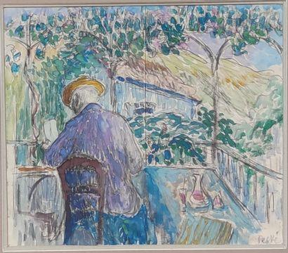 Jean PESKE (1870-1949)  Homme assis sous...