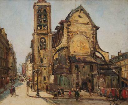 Gustave MADELAIN (1867-1944)  L'église Saint...