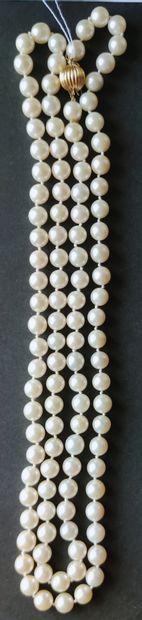 Grand COLLIER de perles de culture calibrées,...