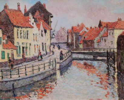 André WILDER (1871-1965)  Canal à Bruges...