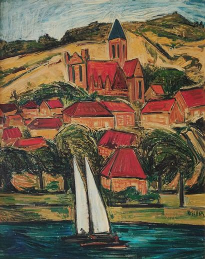 Isis KISCHKA (1908-1973)  Voilier auprès...