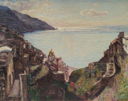 Léon DETROY (1857-1955)  Village et chateau...