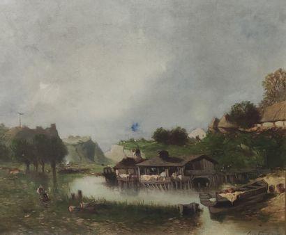 EUGENE DESHAYES (1828-1890),  Le Lavoir  Huile...