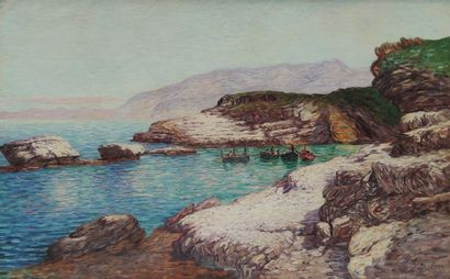 Léon DETROY (1857-1955)  Crique en Provence...