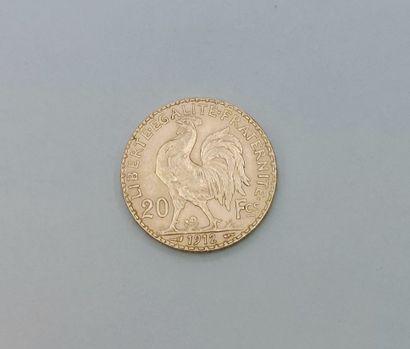 PIECE de 20 Francs République1912 en or jaune 750°/°° Poids : 6.4 grammes FRAIS...