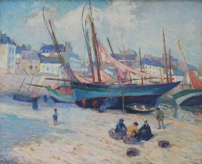 Paul MADELINE (1863-1920)  Bateau de pêche...