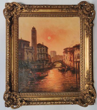 RODIER (XIXe siècle)  Gondolier sur le canal...