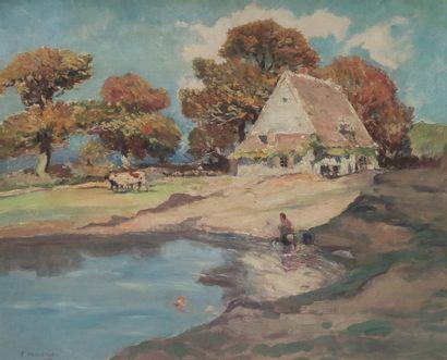 Fernand MAILLAUD (1863-1948) Etang auprès...