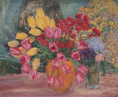 Léon DETROY (1857-1955)  Bouquet de fleurs...