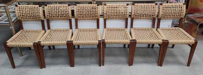 AUDOUX-MINET  Suite de 6 chaises, Edition...