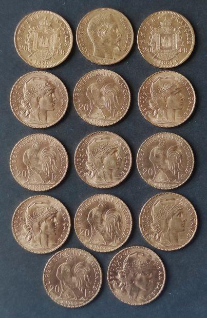 Ensemble de quatorze pièces de 20 Francs...