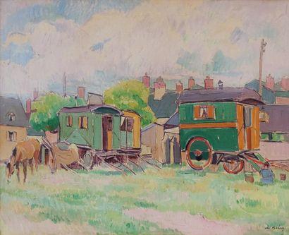 Pierre DE BELAY (1890-1947)  Les roulottes...