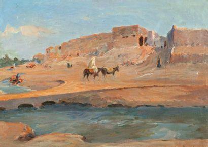 Louis DUMOULIN (1860-1924) CAVALIER PRÈS D'UN VILLAGE EN AFRIQUE DU NORD Huile sur...
