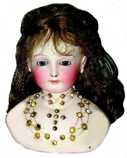 Exceptionnelle et très rare poupée avec tête buste en biscuit pressé brevetée en...