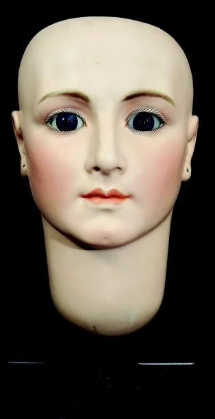 Très rare et exceptionnelle tête de mannequin de vitrine de la maison BRU Jeune...