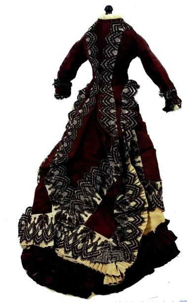 Robe à manches longues et à tournure pour poupée parisienne de taille 4, en taffetas...