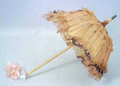 Ombrelle de poupée avec manche en bois, poignée...