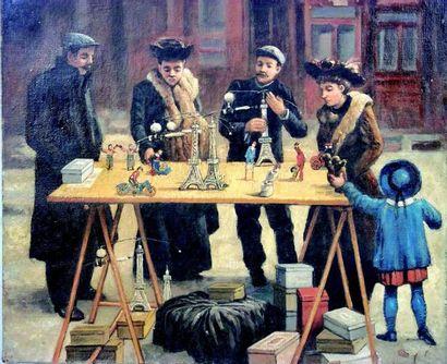 «Sur le Boulevard» originale huile sur toile...