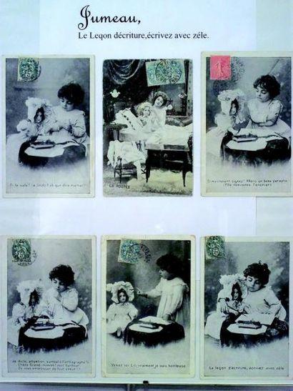«La Leçon d'Ecriture» Ensemble de 5 cartes...