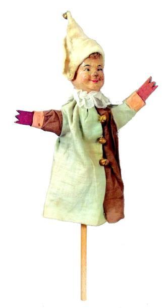Marotte avec tête en carton moulé et mains...