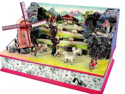 Scène de campagne avec moulin joli et très...