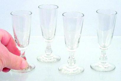 Ensemble de quatre flûtes à Champagne miniatures...