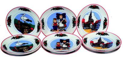 Ensemble de 9 assiettes décoratives miniatures...