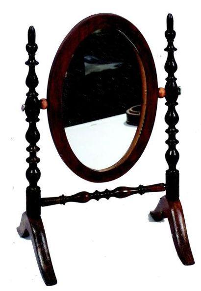 Très joli miroir ovale sur pied avec deux...