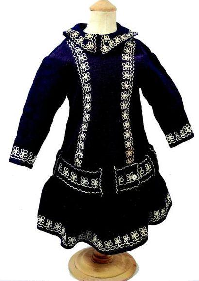 Robe de bébé ancienne en lainage bleu marine...