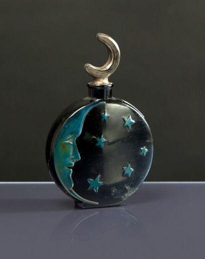 SARI «Lune de Miel» - (années 1920) Rare flacon en verre opaque noir pressé moulé...