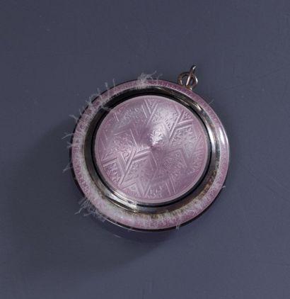 Travail Autrichien - (années 1920) Rare poudrier-pendentif en argent et vermeil entièrement...