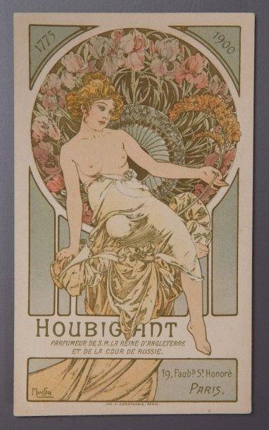 Alfons Mucha pour Houbigant - (1900) Très rare carte parfumée publicitaire, une face...