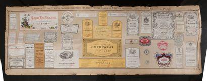 L.T.Piver - (années 1890) Très rare planche d'étiquettes de la parfumerie L.T.Piver,...