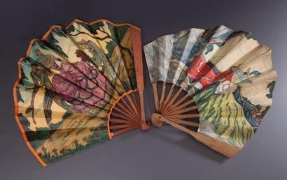 L.T.Piver - (Années 1920) 2 Éventails publicitaires en papier chromolithographié...