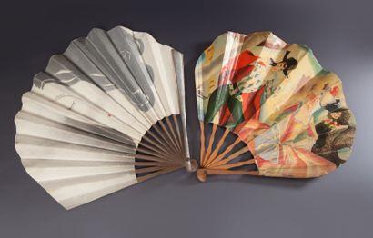 GALERIES LAFAYETTE - (années 1930) Lot comprenant 2 éventails publicitaires en papier...
