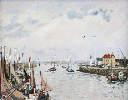 Jacques BOUYSSOU (1926-1997) « Honfleur, les Digues » Huile sur toile signée en bas...