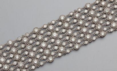 Bracelet manchette en or gris 750°/0( hibou),...