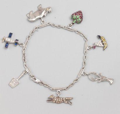 Bracelet en or gris 750°/00 (hibou) orné...