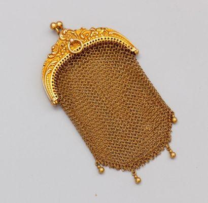 Bourse en maille d'or jaune 750°/00 (tête...