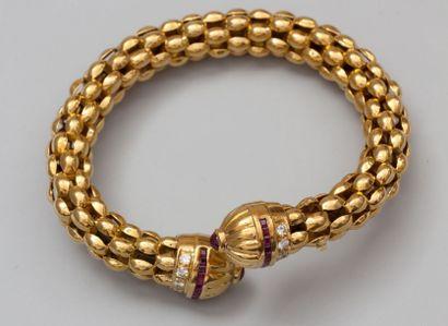Bracelet croisé en or jaune 750°/00 (hibou)...